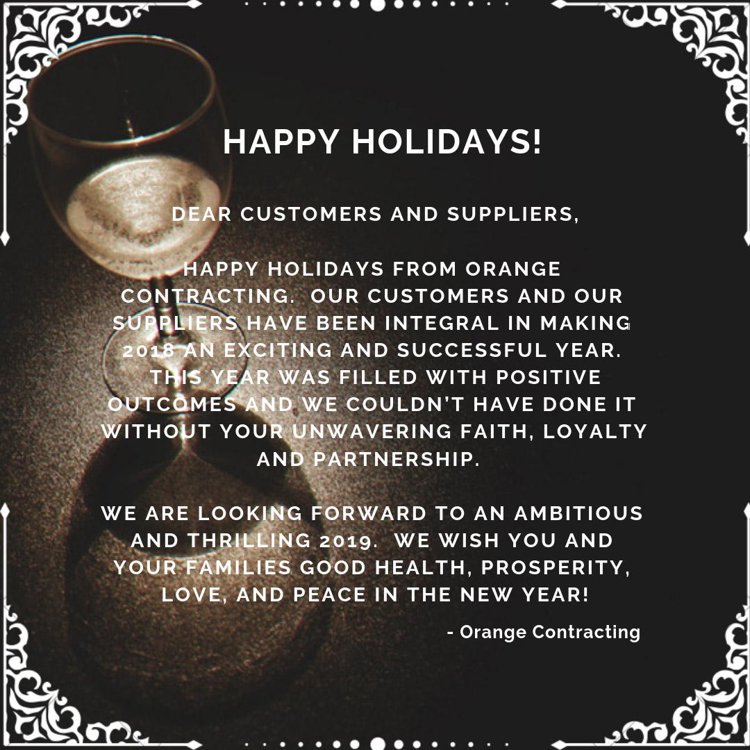 orange contracting happy holidays