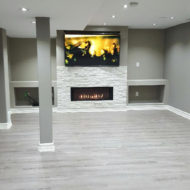 basement floor fireplace renovation