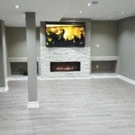 basement floor fireplace renovation